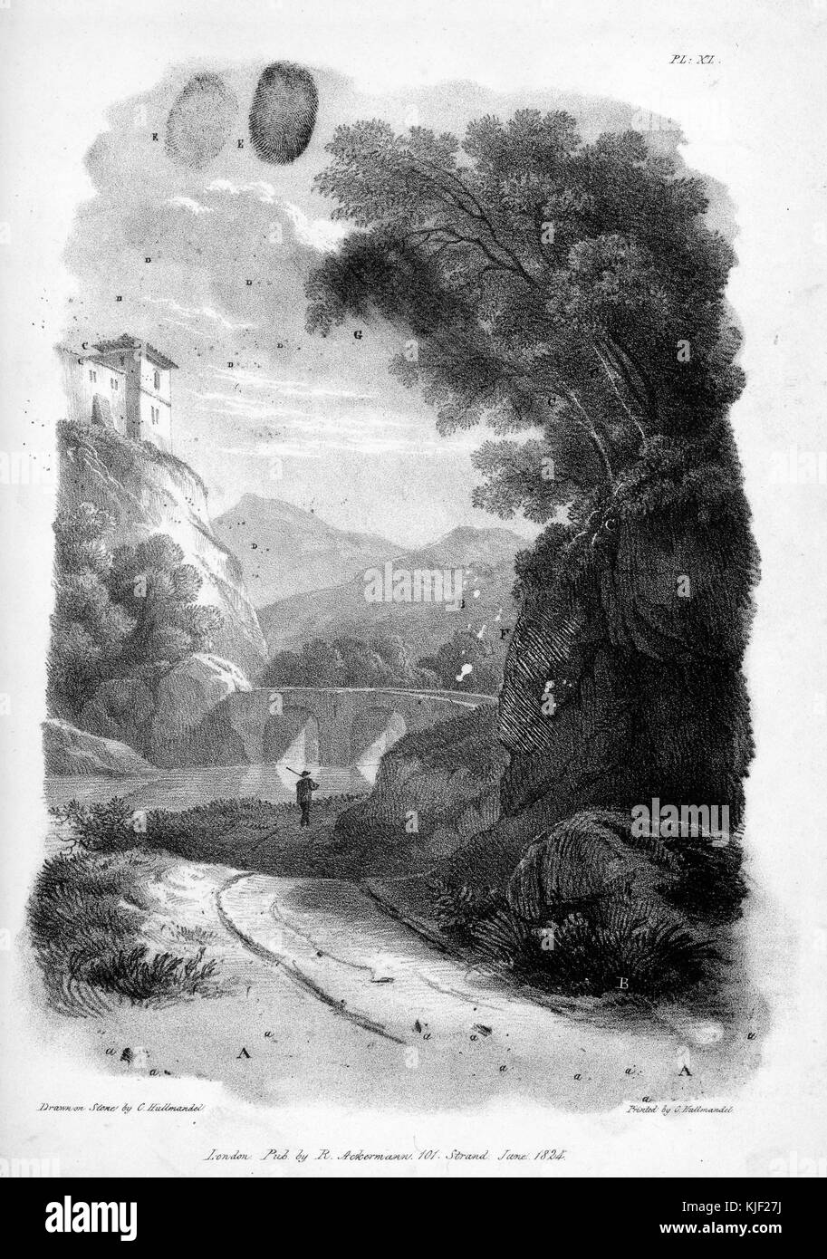 Lithographic impression on paper, depicting a man walking down a path, hills and trees around him, a house on top - Stock Image