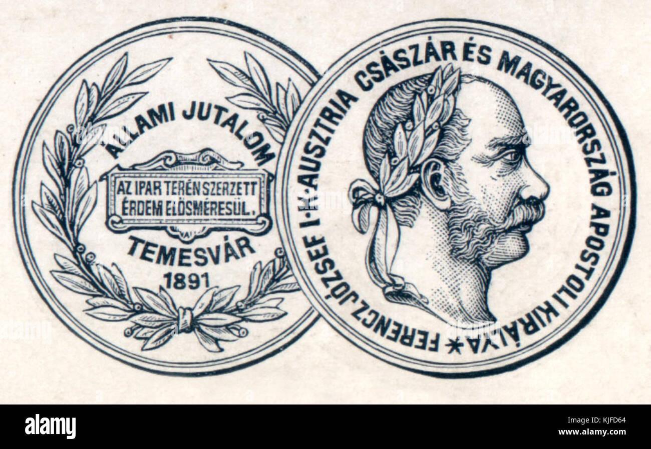 Temesvar Allami Jutalom erem rajza 1891 - Stock Image