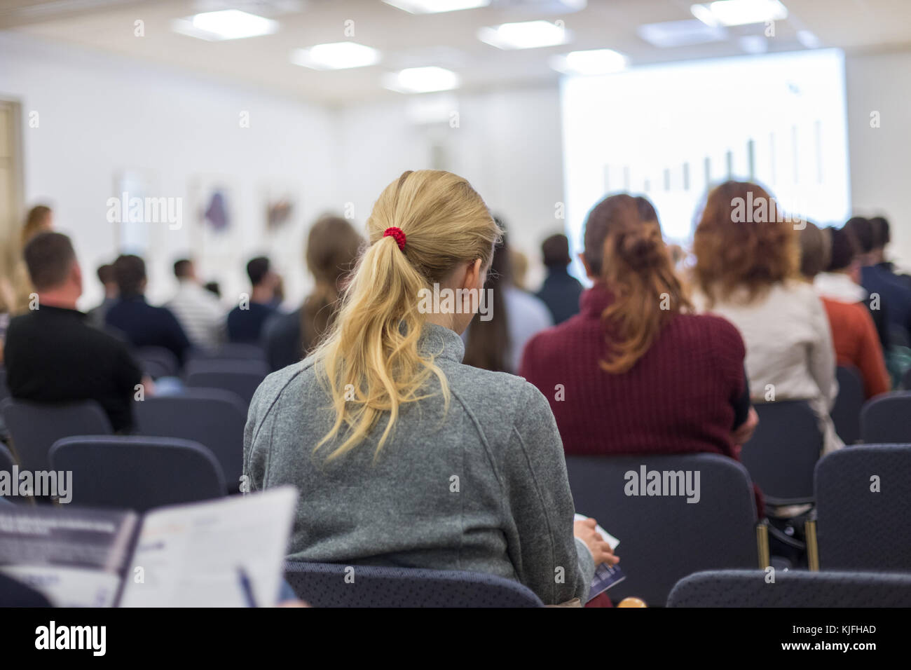 Workshop at university lecture hall. - Stock Image