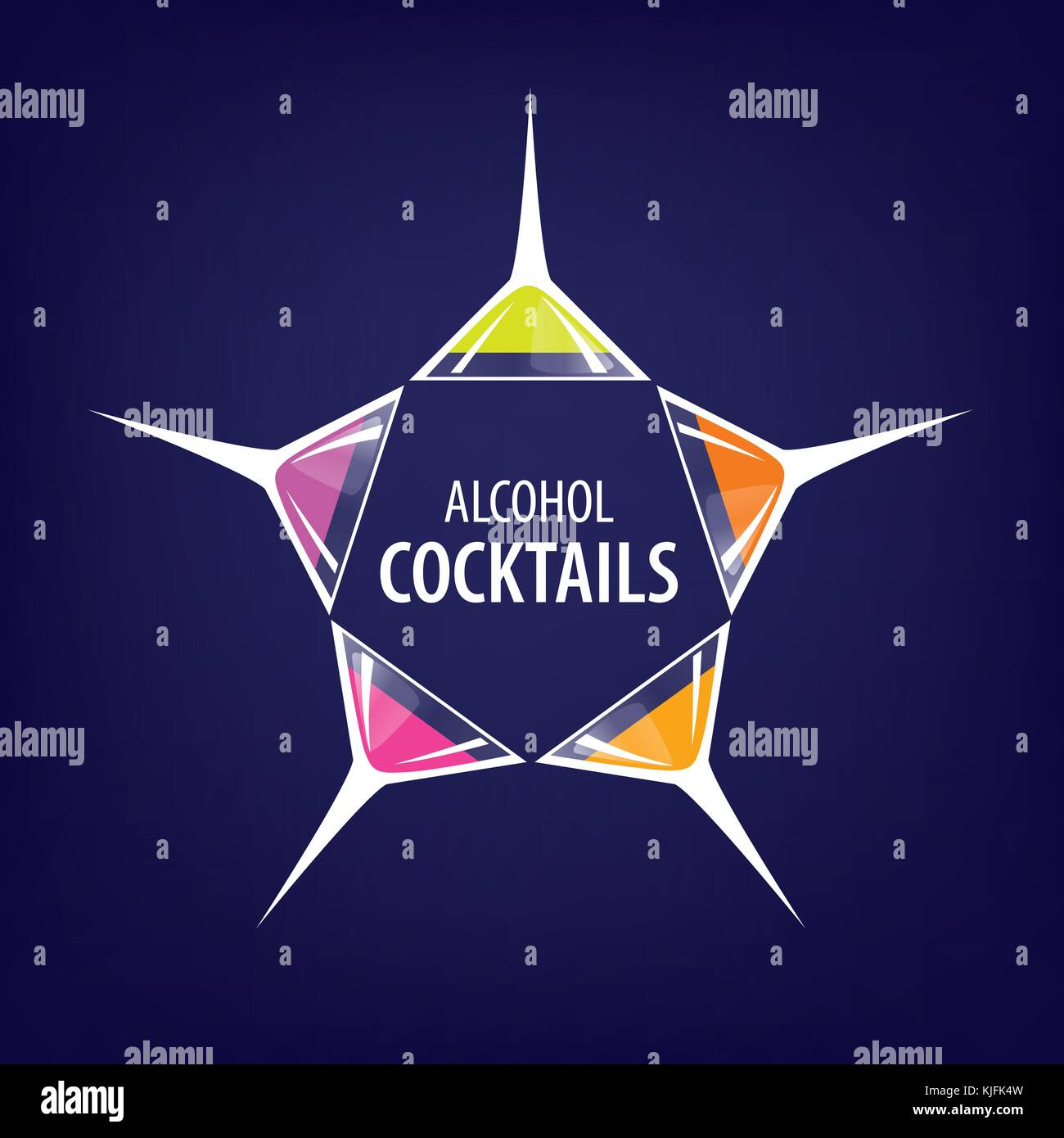 alcoholic cocktails logo Stock Vector