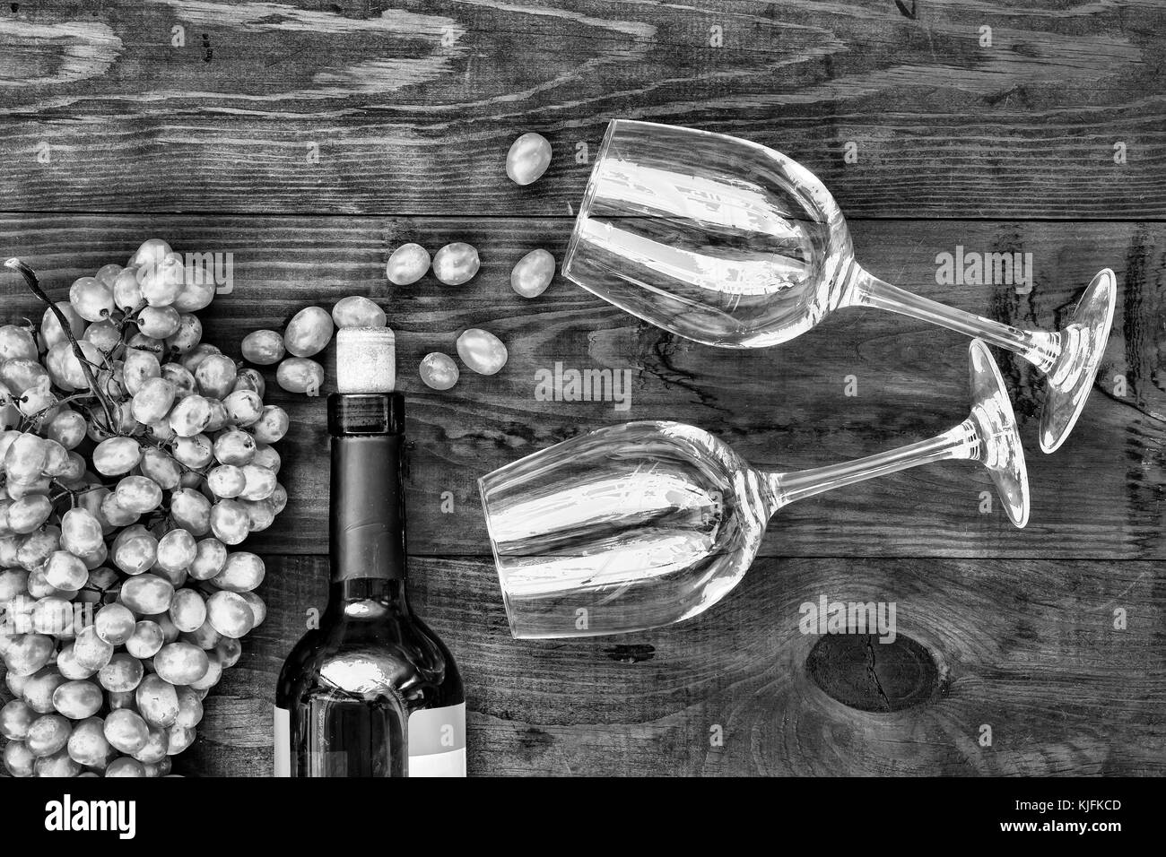 Wine and glasses on a wooden table. Concept: Thanksgiving, Christmas. top veiw Stock Photo