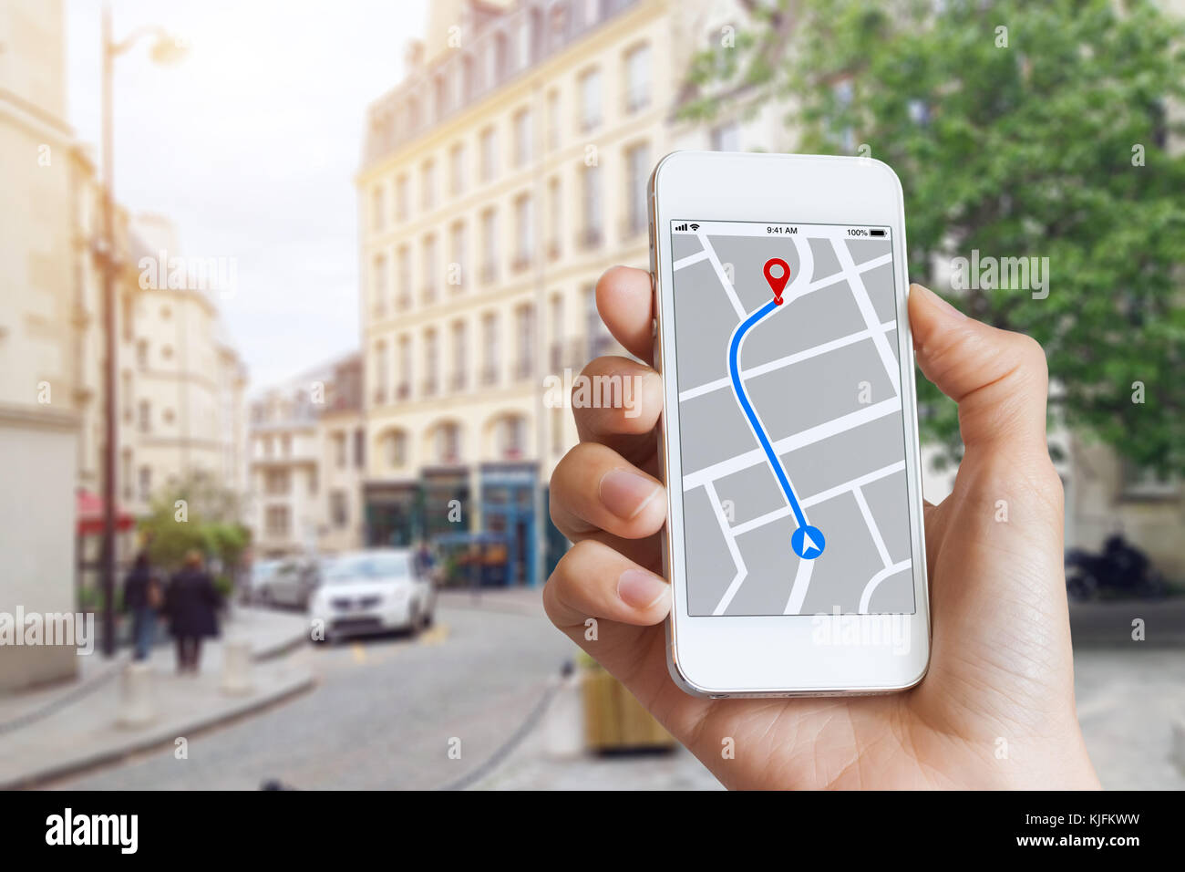 Tourist using GPS map navigation app on smartphone screen to ... on click for directions, driving directions, map for directions, maps and directions, follow directions, custom map directions, mapquest directions,