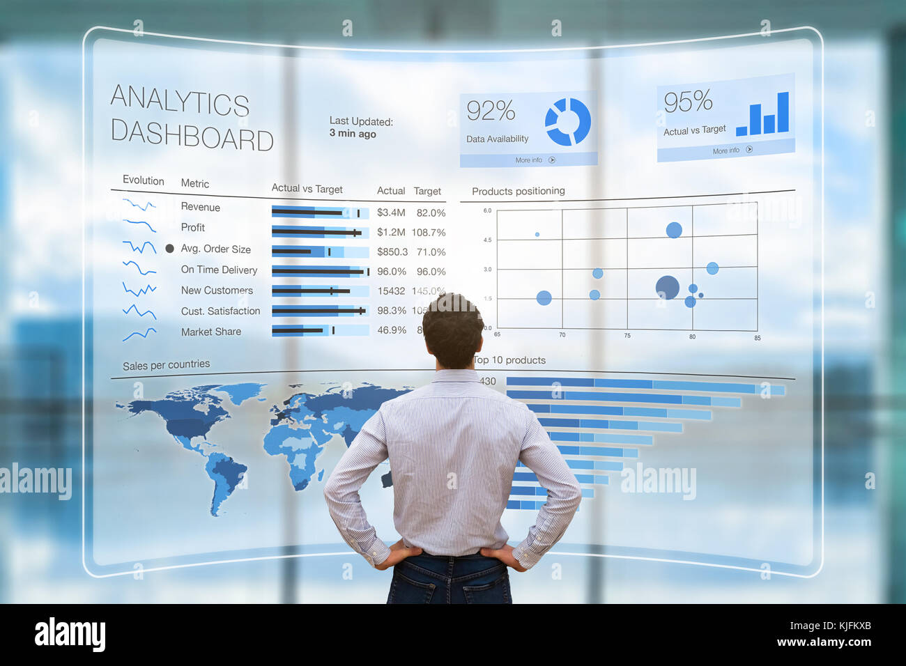 Businessman analyzing a business analytics (BA) or intelligence (BI) dashboard on virtual screen showing sales and - Stock Image