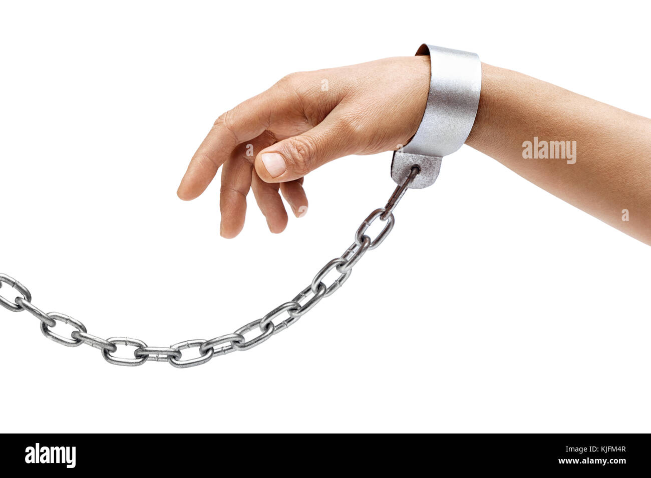 Man's hand in chains isolated on white background. Close up, concept against violence - Stock Image