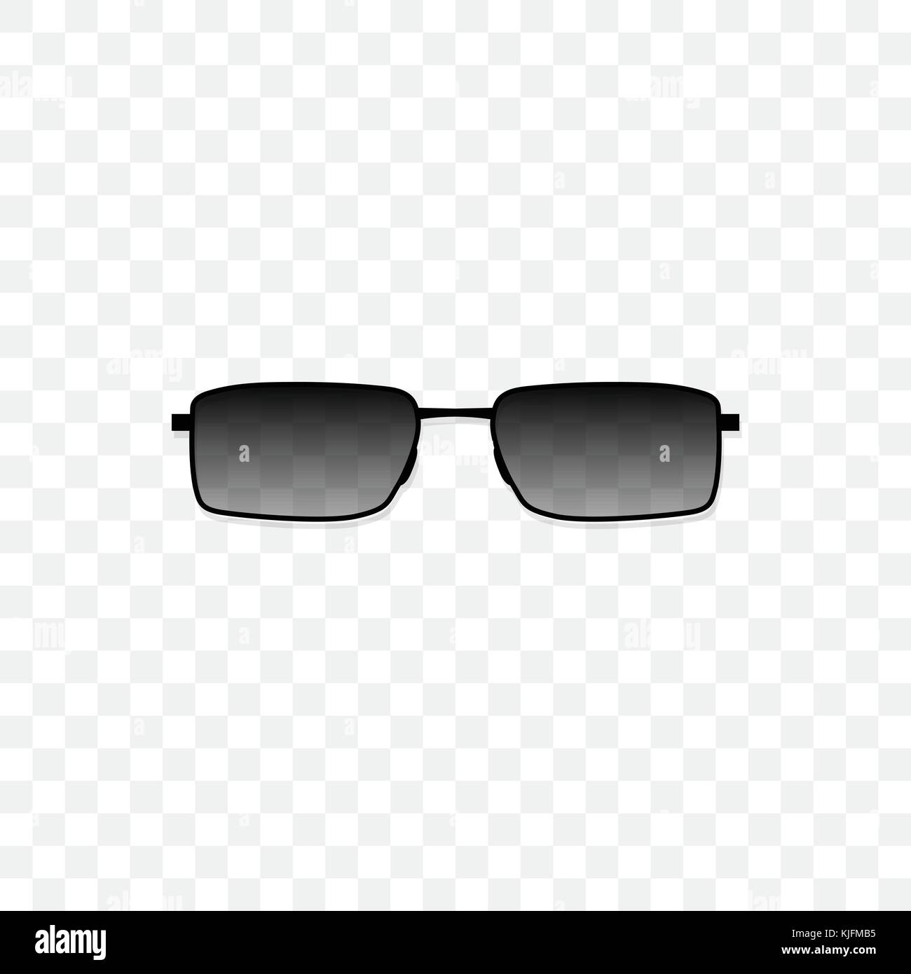 Realistic sunglasses with a translucent black glass on a transparent background. Protection from sun and ultraviolet - Stock Image