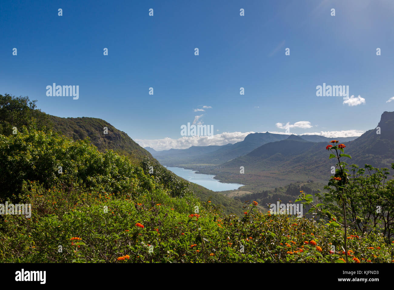 View from Le Morne Brabant onto the coast near La Gaulette at the south coast of Mauritius, Africa. - Stock Image