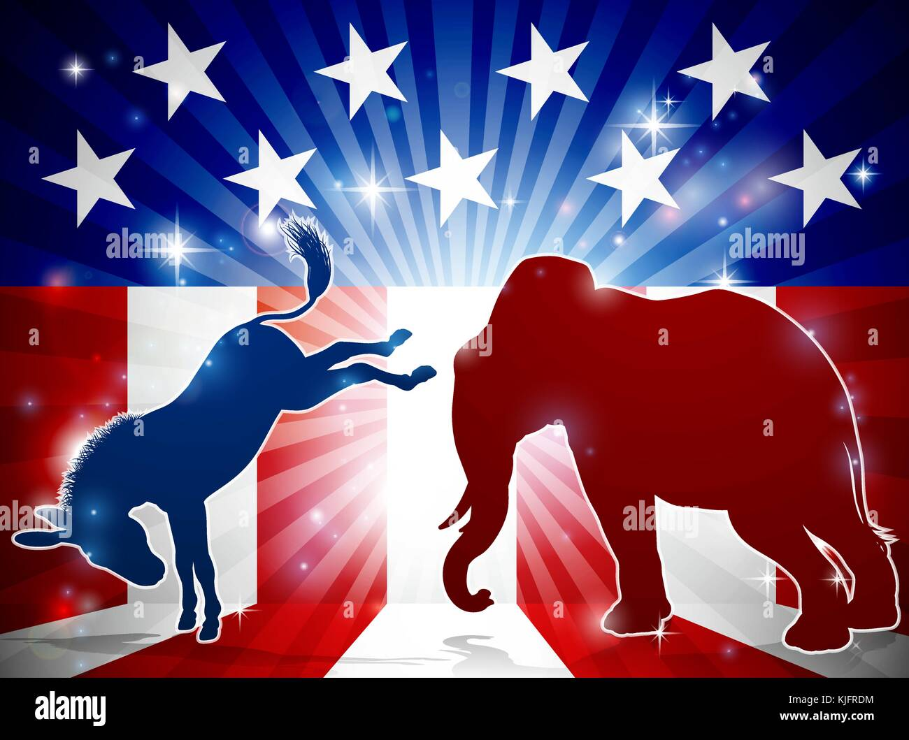 Silhouette Elephant Fighting Donkey - Stock Image