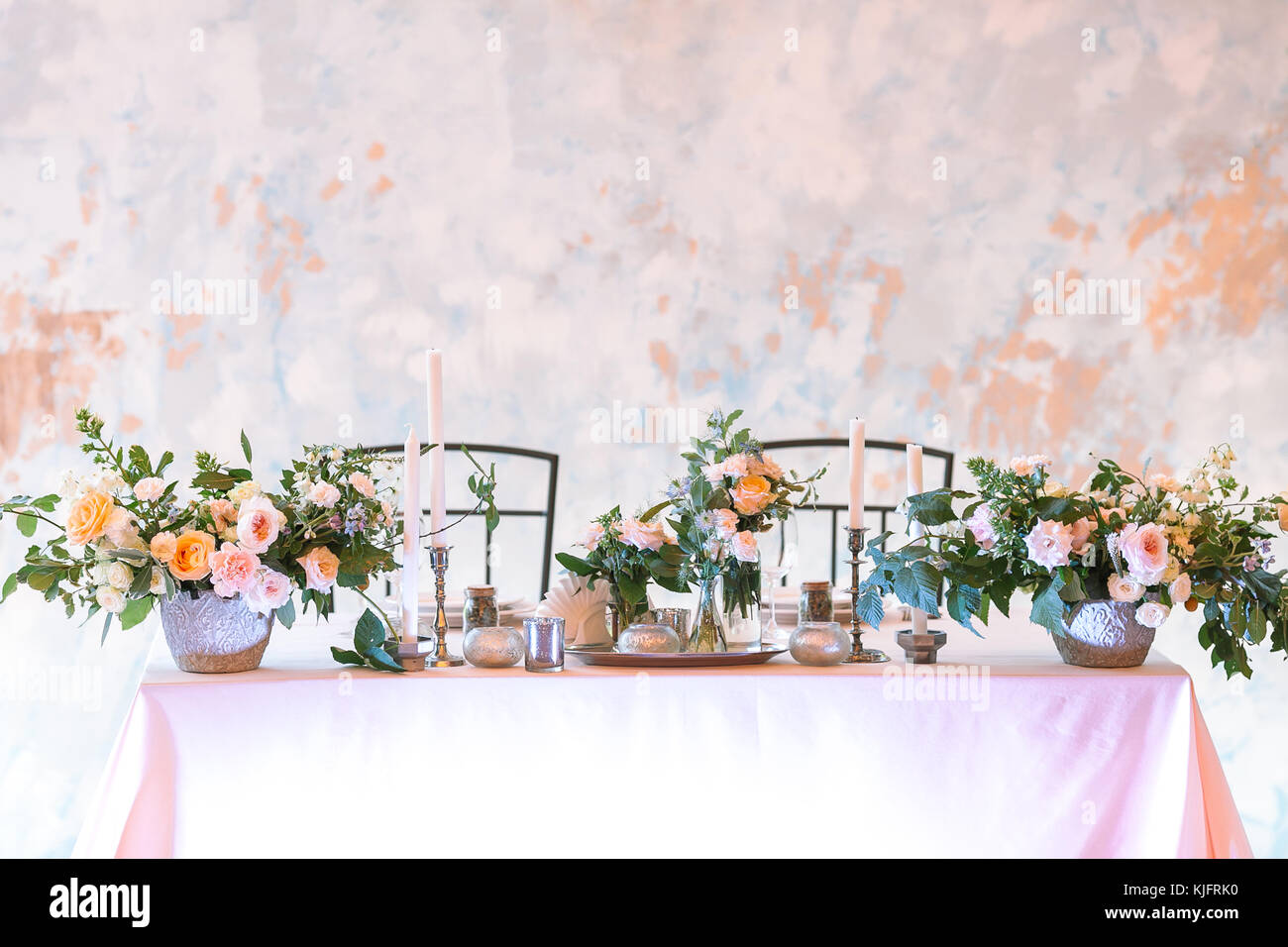 romance dating table setting concept. the most perfect table setting for romantic evening for couple plenty of flowers in big and tiny bunches ...  sc 1 st  Alamy & romance dating table setting concept. the most perfect table Stock ...