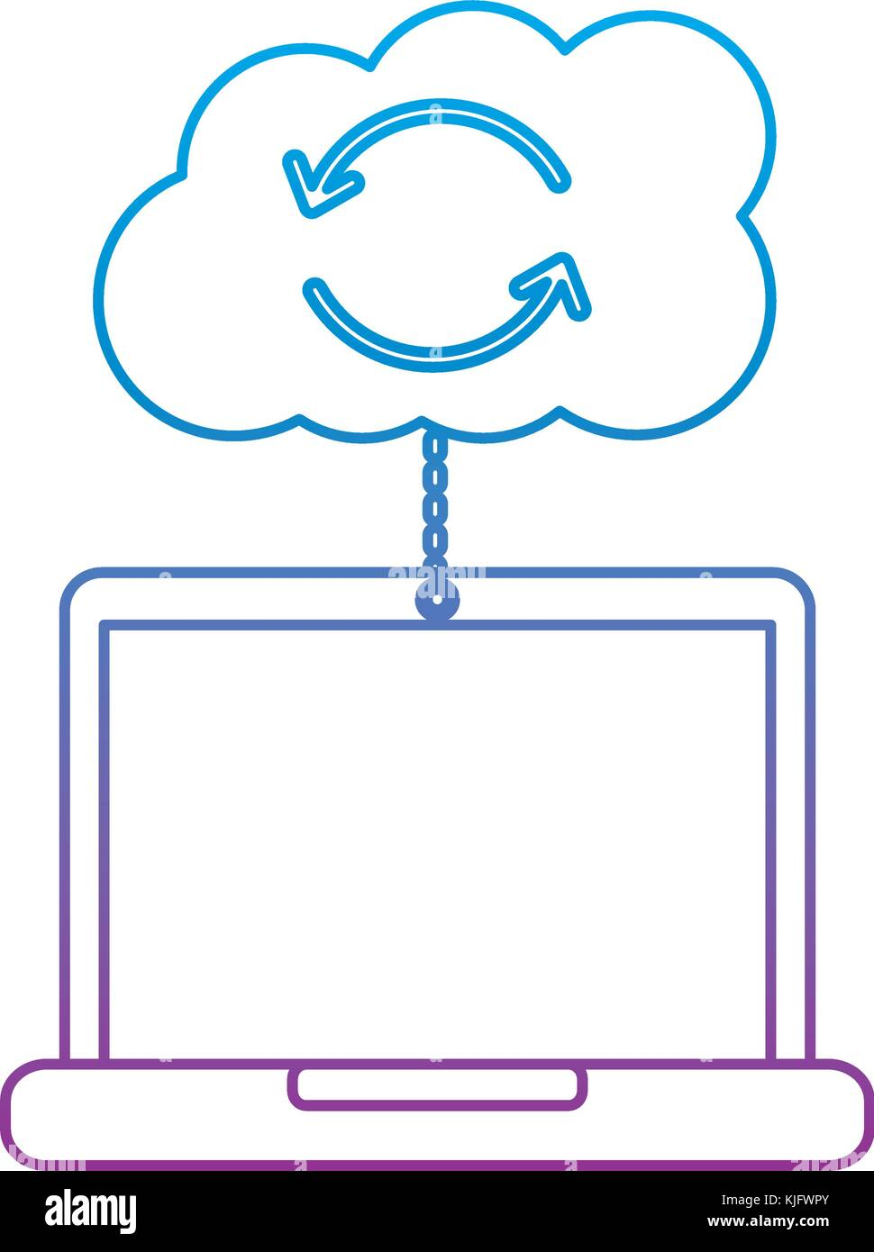 cloud laptop data connection binary hosting information - Stock Vector