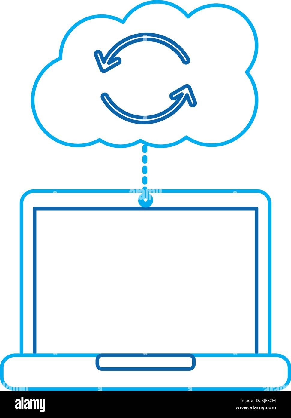 cloud laptop data connection binary hosting information - Stock Image