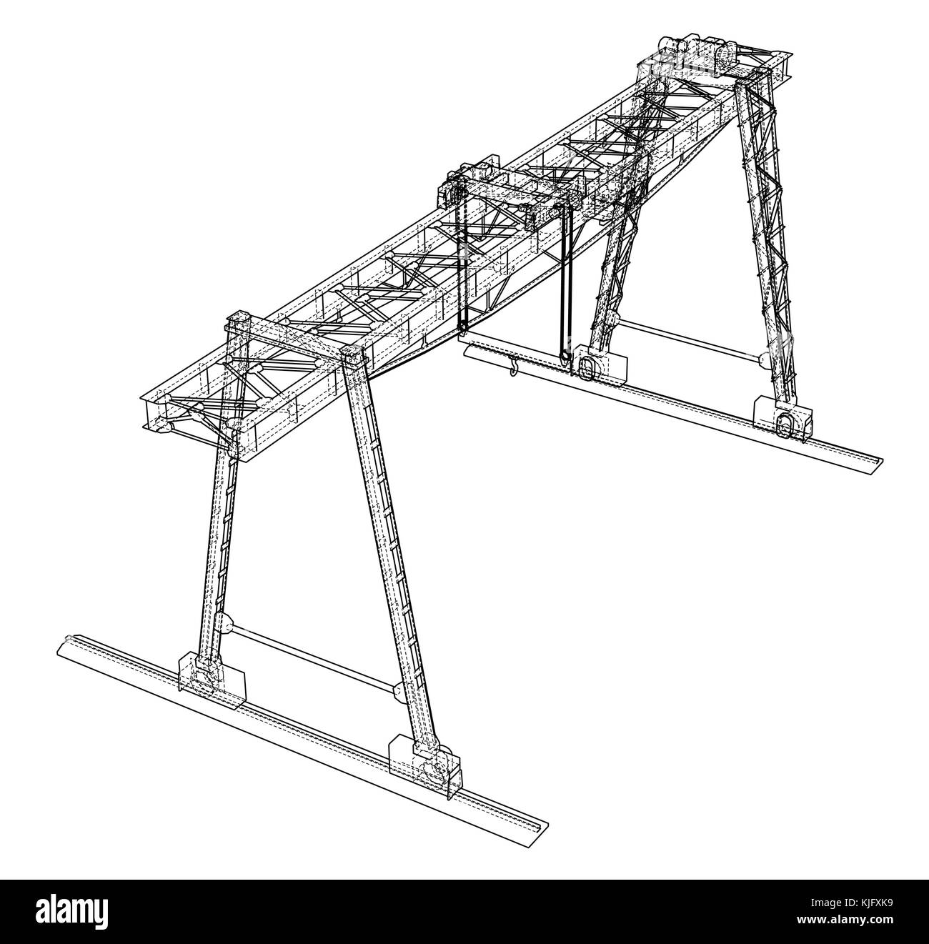 Tower Gantry Crane Cut Out Stock Images Pictures Alamy Overhead Wiring Along With Diagram Wire Frame Vector Eps10 Format Image