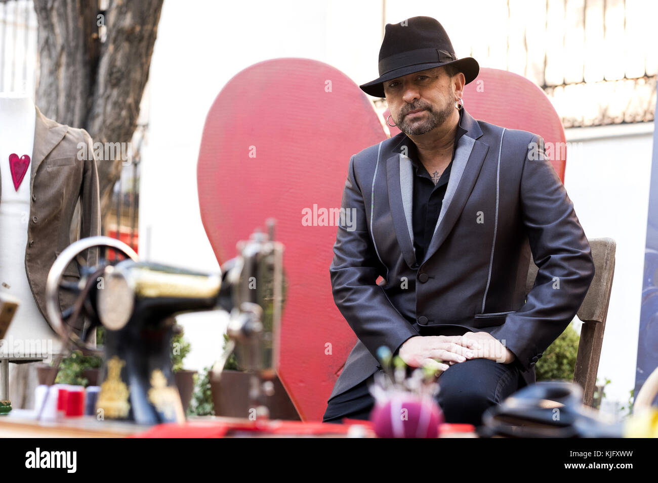 The singer El Barrio attends the presentation of his album 'Las Costuras del Alma' in Madrid, Spain.  Featuring: Stock Photo