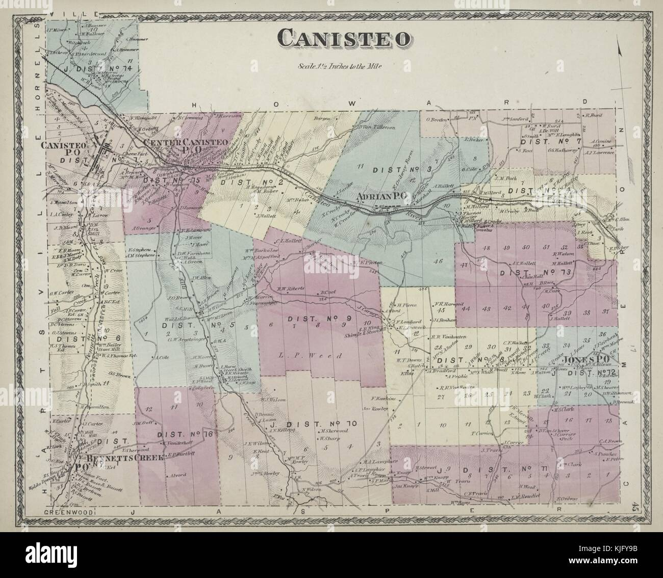 Engraved map image from an atlas, with original caption reading 'Canisteo Township', 1873. From the New - Stock Image