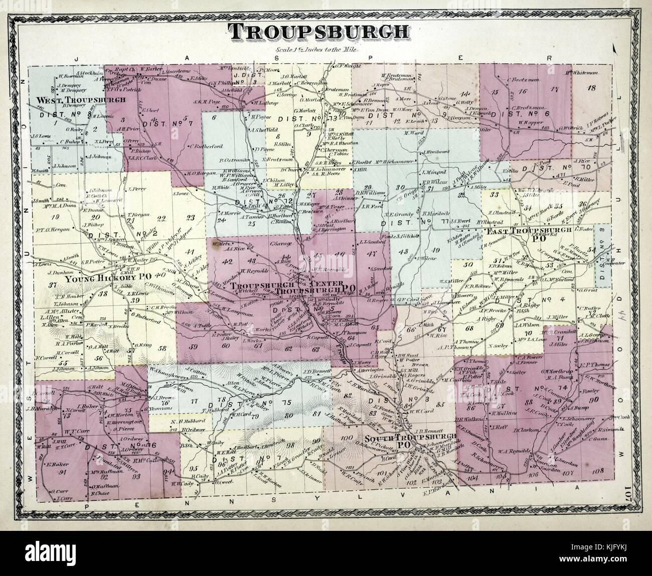 Engraved map image from an atlas, with original caption reading 'Troupsburgh Township', 1873. From the New - Stock Image
