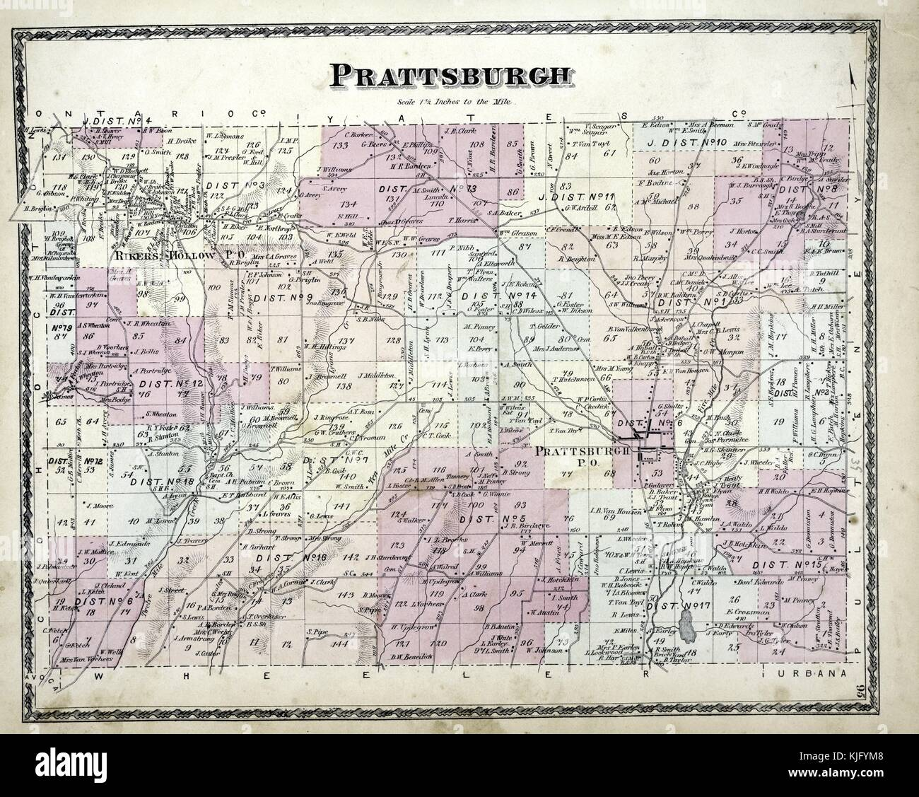 Engraved map image from an atlas, with original caption reading 'Prattsburgh Township', 1873. From the New - Stock Image