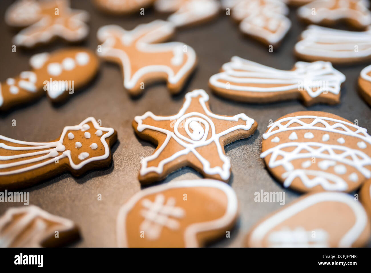 Decorated gingerbread for christmas eve - Stock Image
