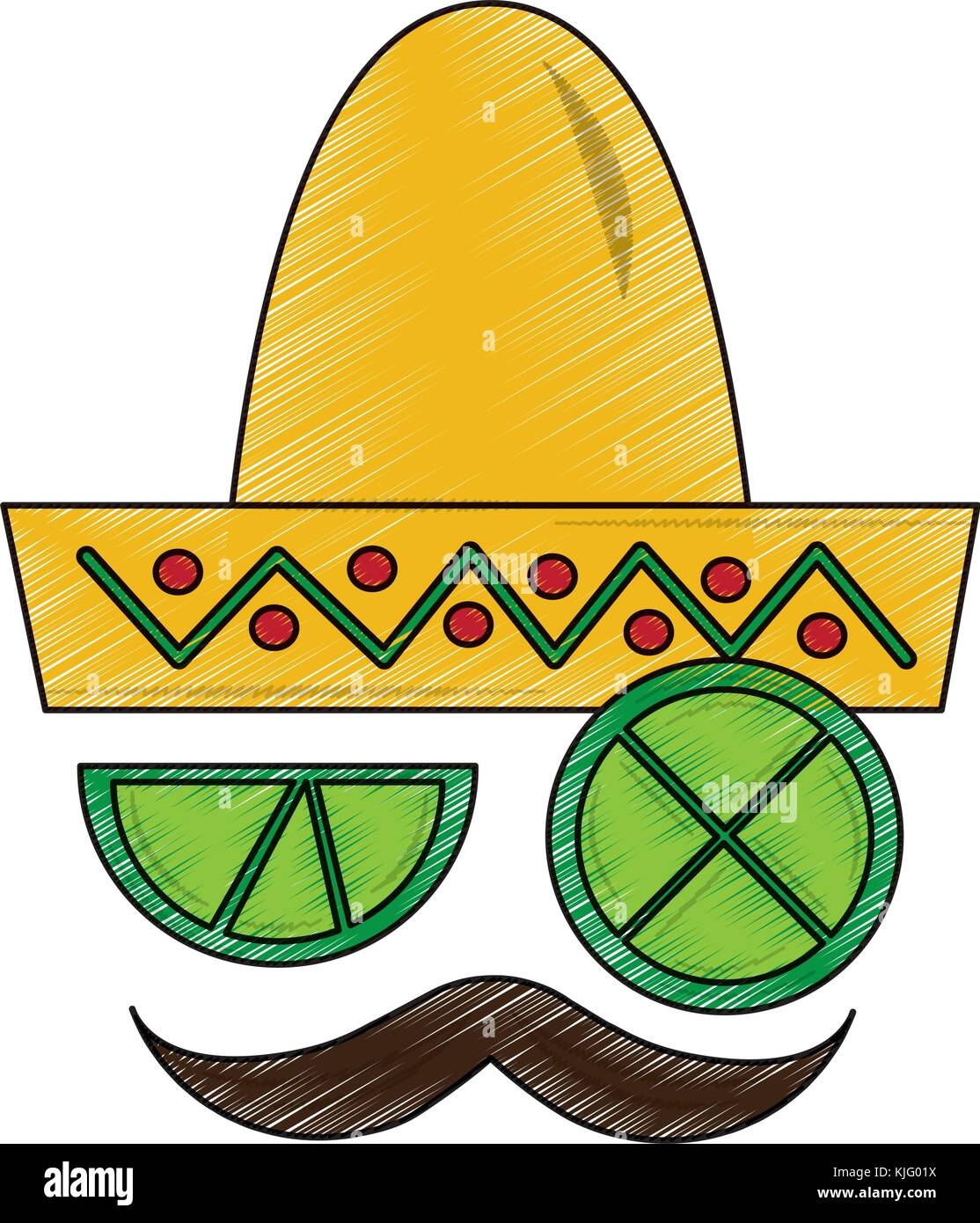 Mexican Hat And Mustache With Slice Lemon Culture Symbol Stock