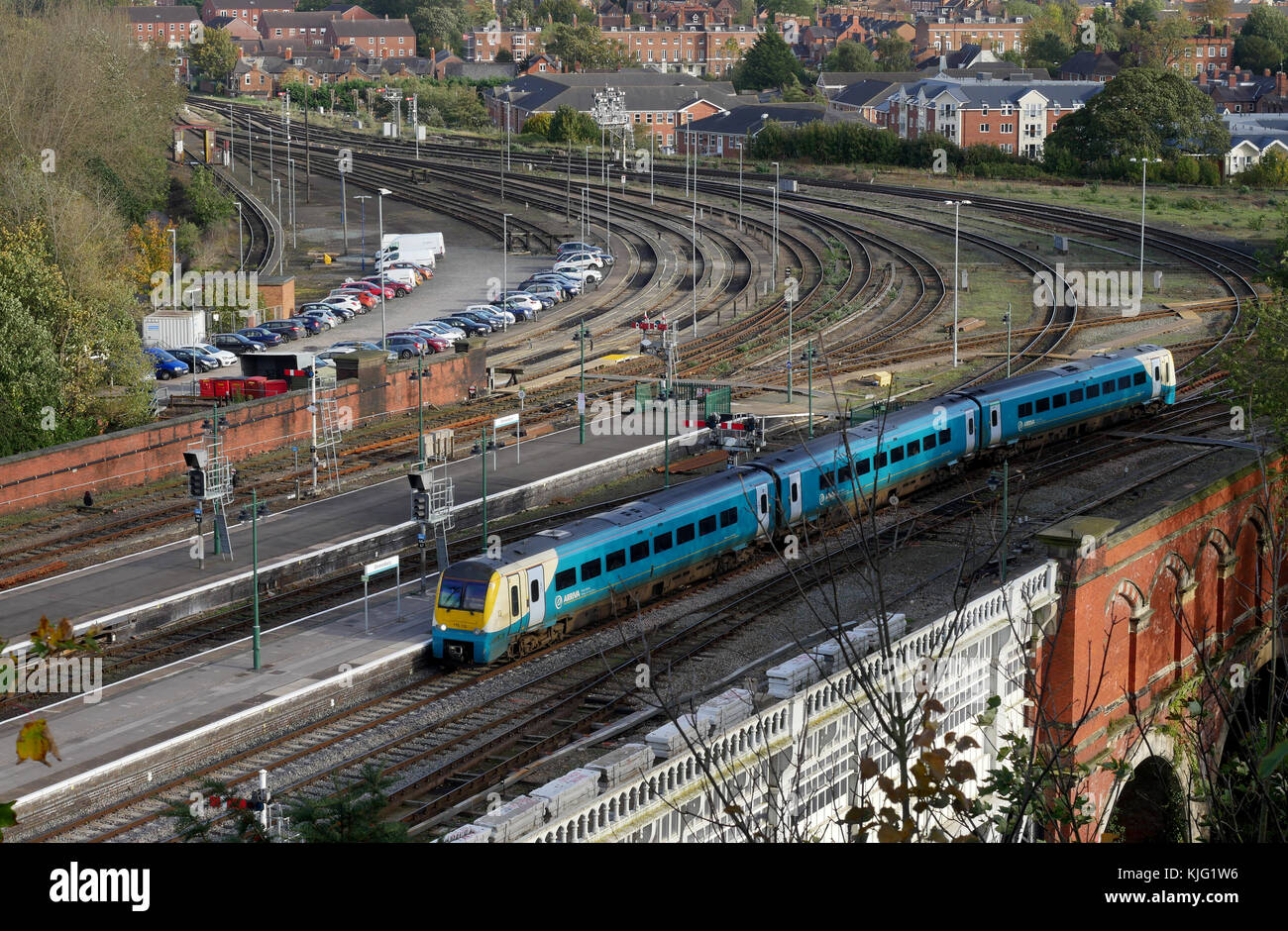 An Arriva Class 175 Coradia DMU train approaches Shrewsbury Railway Station from the English Bridge Junction, Shrewsbury, - Stock Image