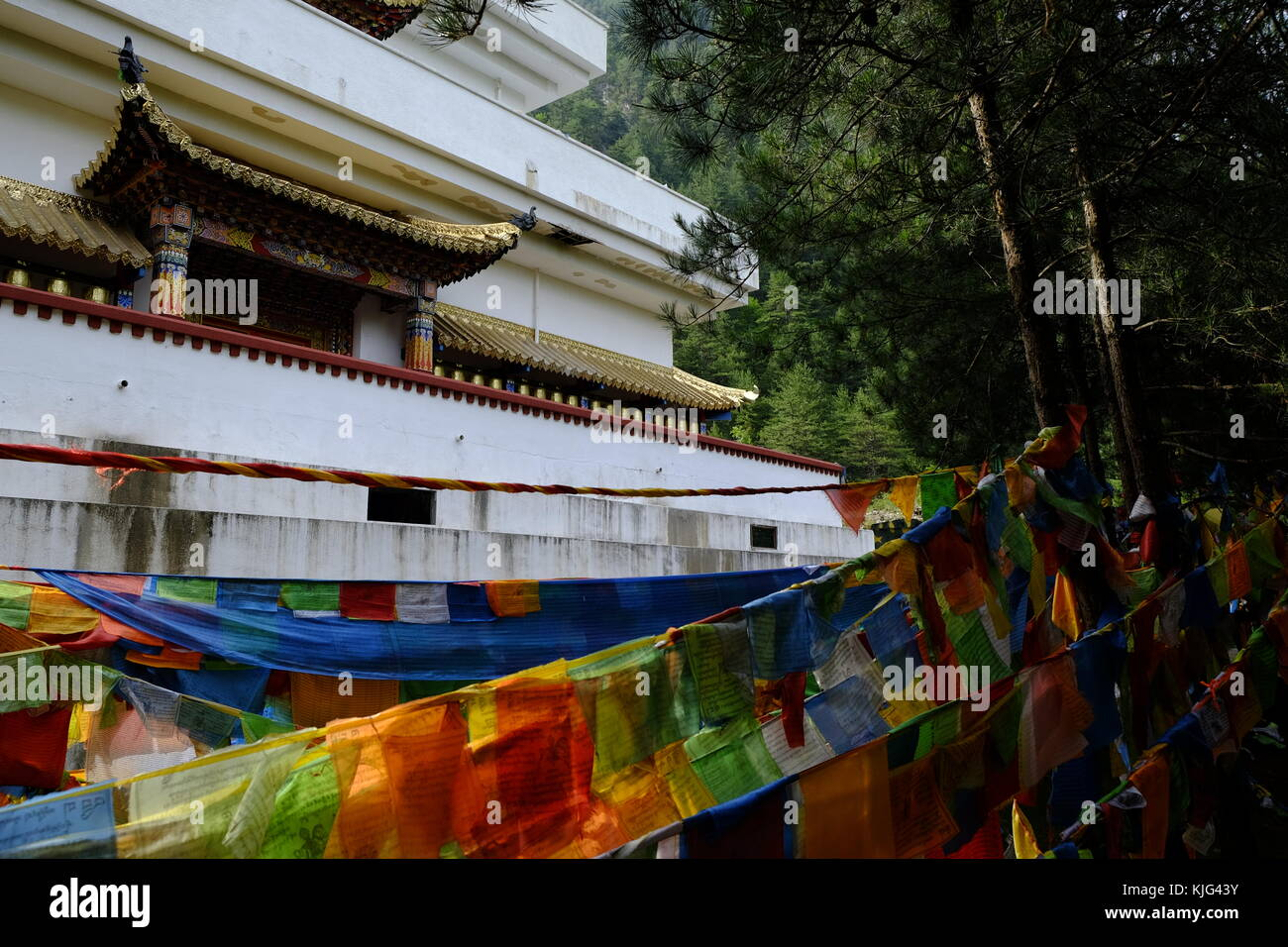 Tibetan monastery at Jiuzhaigou valley in China - Stock Image