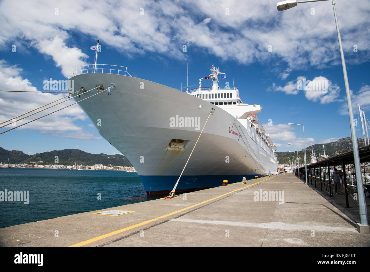 Large passenger cruise liner Thomson Spirit docked at Marmaris port in Turkey and viewed from the jetty alongside - Stock Image
