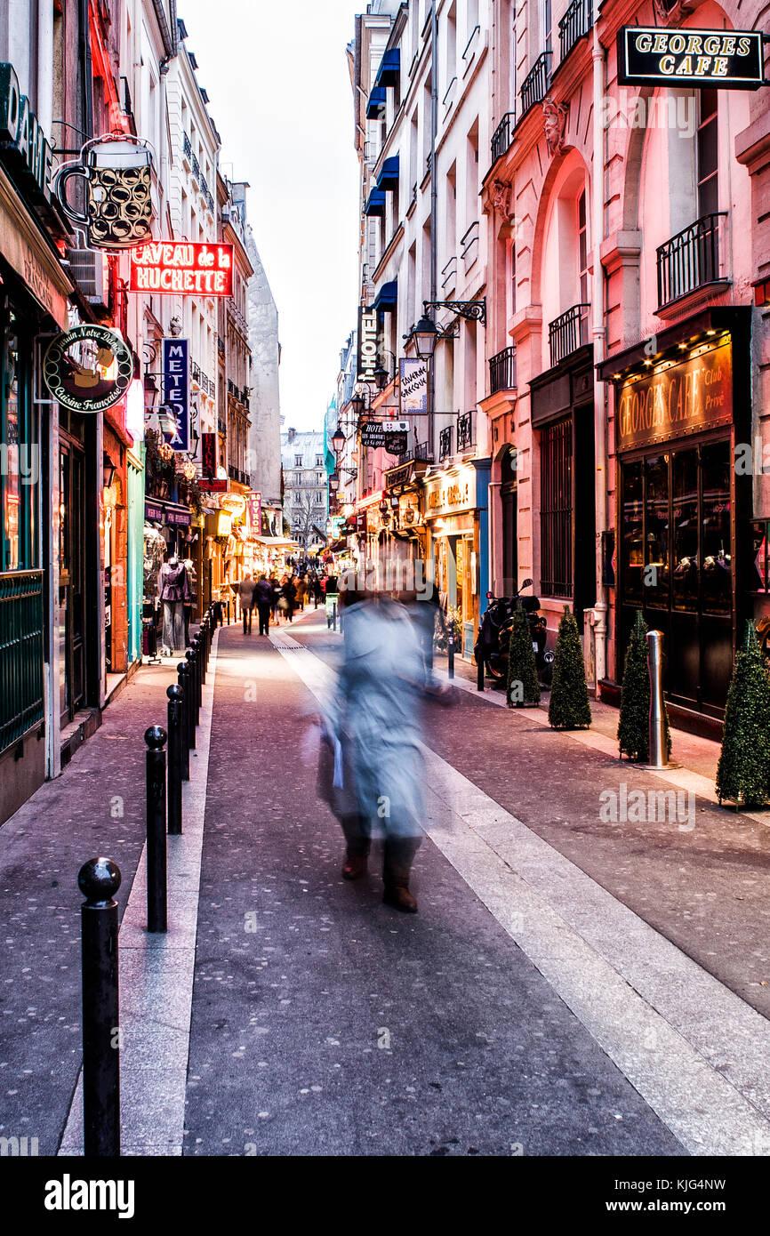 Rue de la Huchette, in Quartier Latin, at evening. Paris, France. - Stock Image