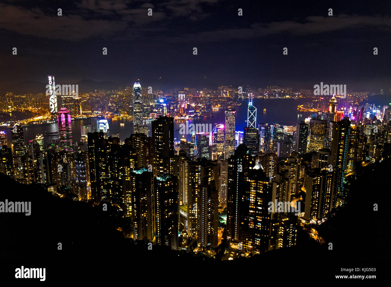 The photo was taken at The Peak, which is one of the landmarks in Hong Kong. The photo was taken with professional - Stock Image