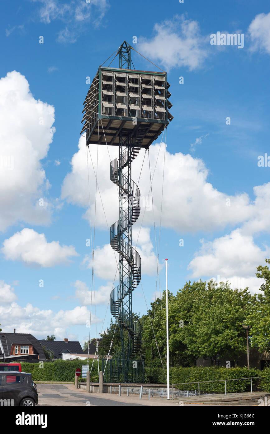 Moderner Kirchturm mit 48 Glocken, 1970, Nörrelandskirche, von Architekten-Ehepaar Exner, 1969, Holstebro, - Stock Image
