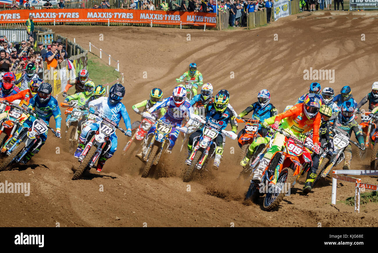 Start of the MX2 Motocross race at the 2017 British Championship meeting at Cadders Hill, Lyng, Norfolk, UK. - Stock Image