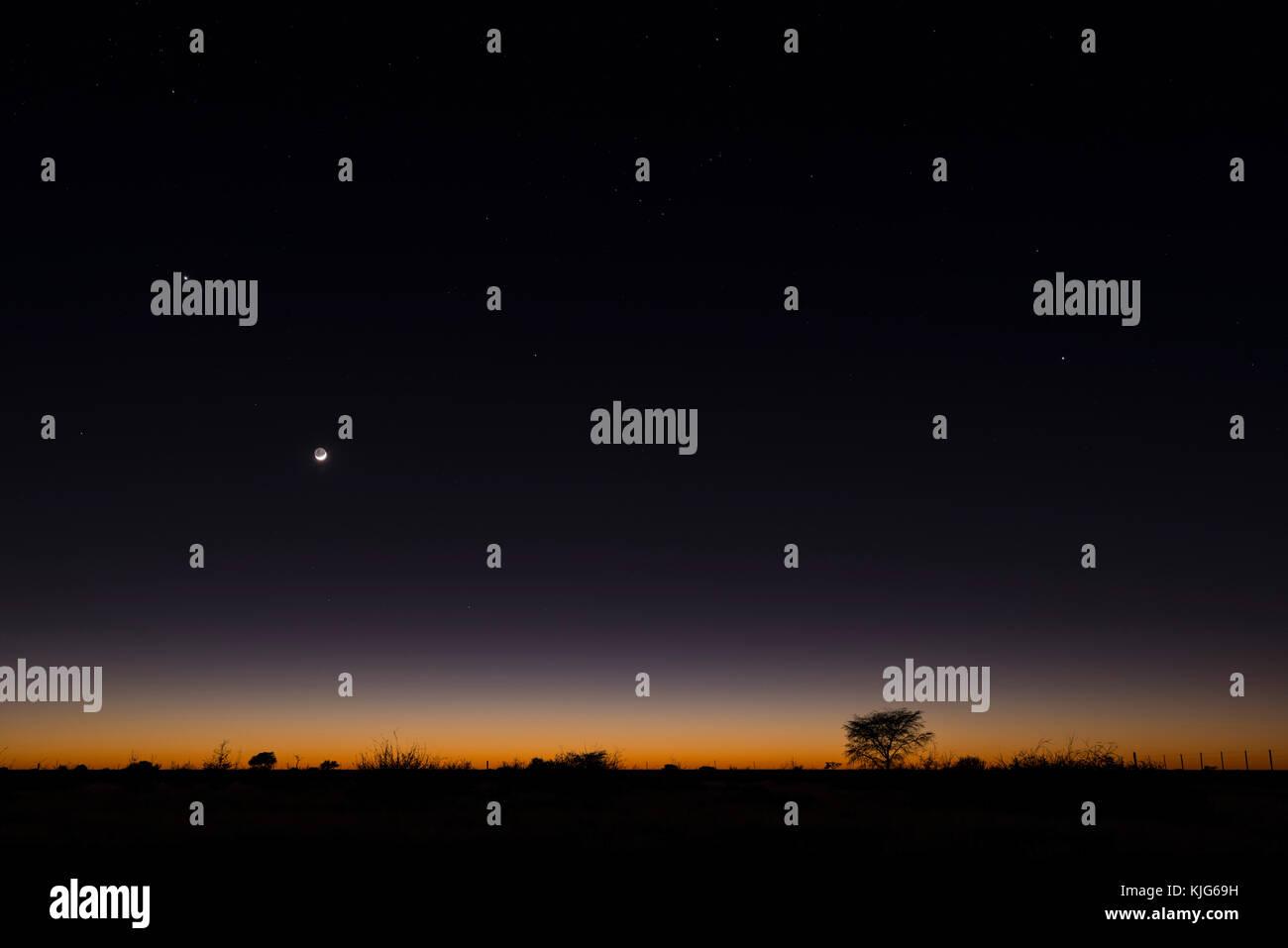 Namibia, Region Khomas, near Uhlenhorst, Astrophoto, RIsing moon and Planet Venus above a glowing savannah horizon - Stock Image