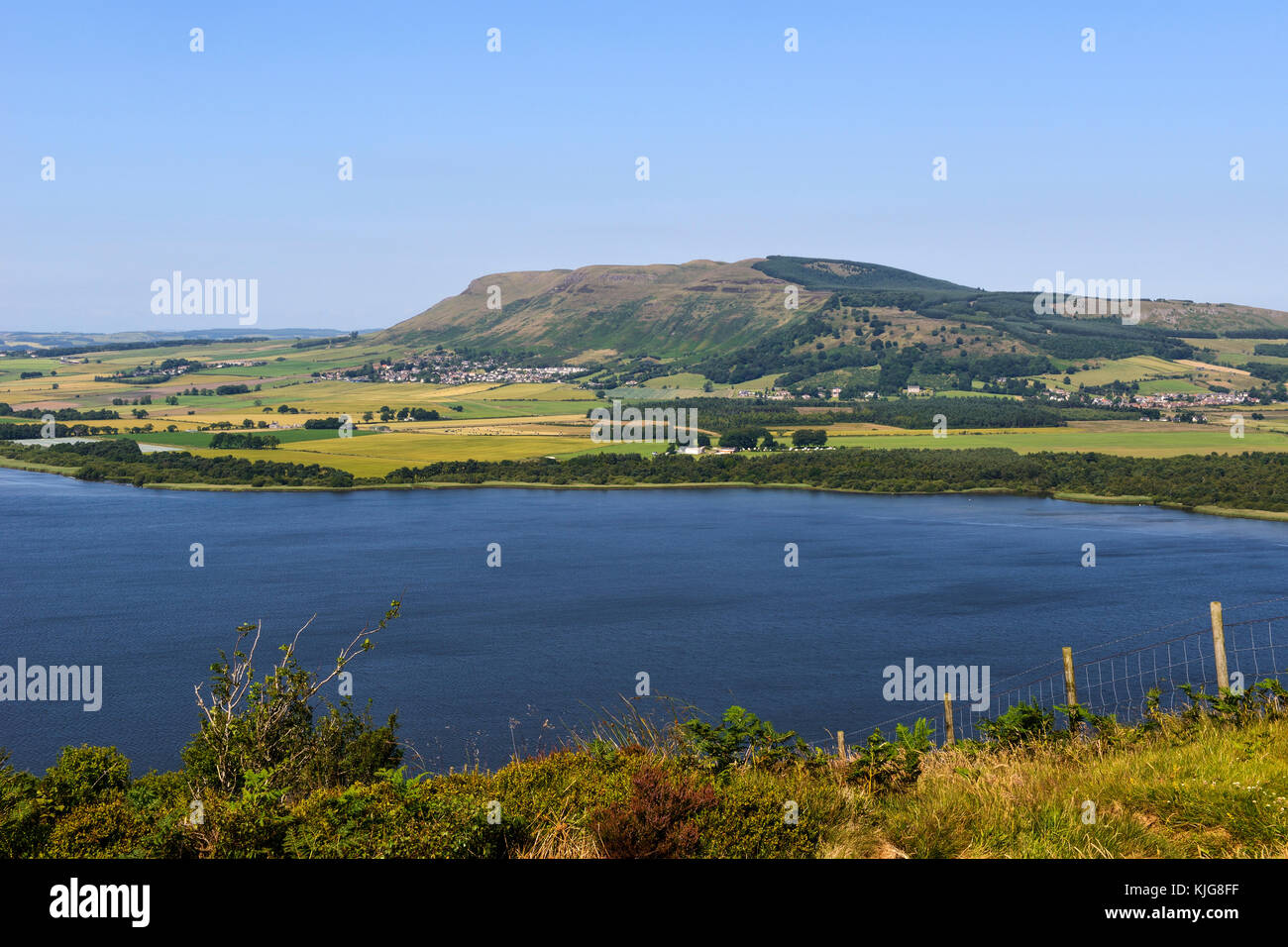 View across Loch Leven to the Lomond Hills from the slopes of Benarty Hill, Perth and Kinross, Scotland - Stock Image