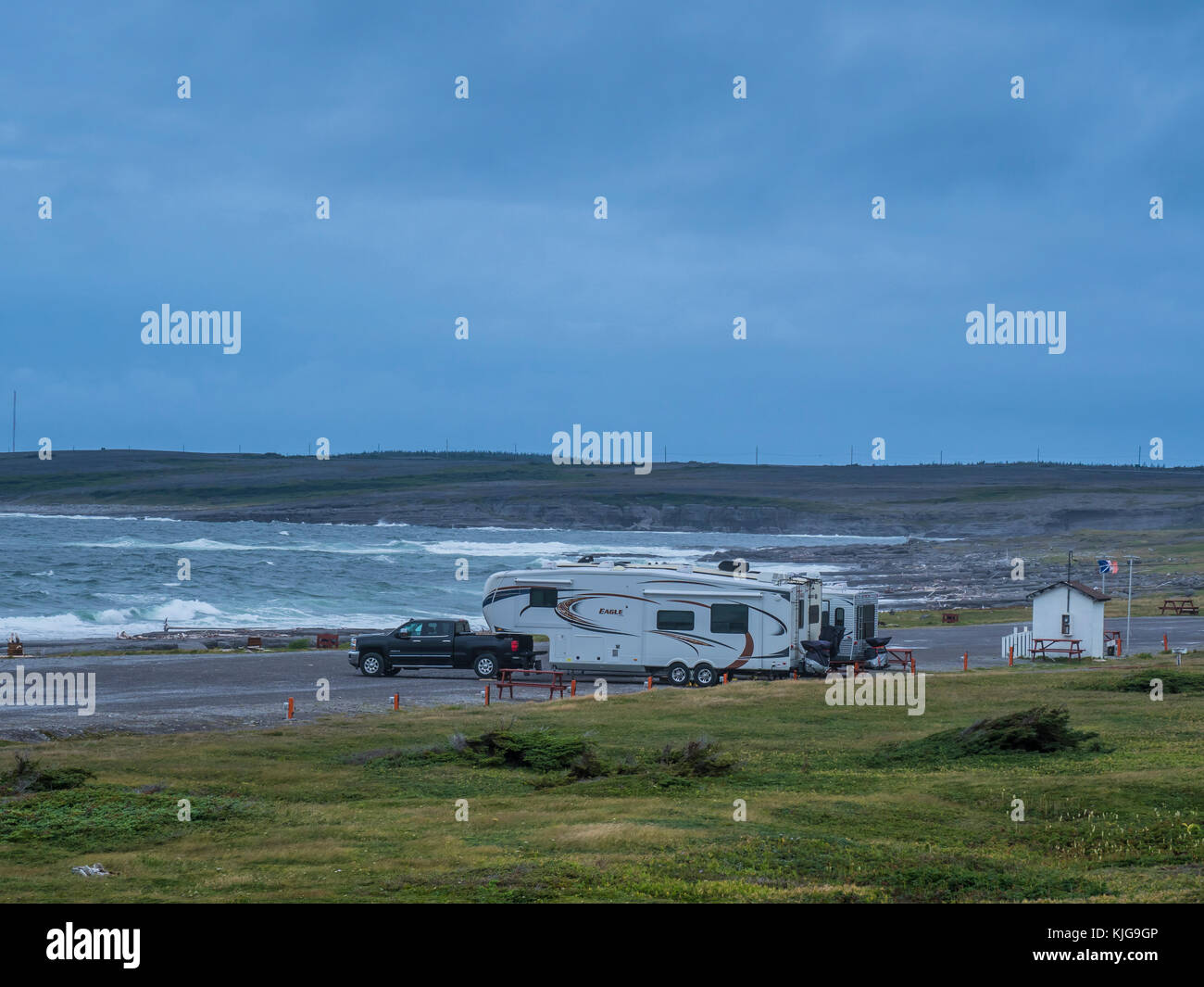 Shoreline campground run by local Lyons Club, Port au Choix, Highway 430, the Viking Trail, Newfoundland, Canada. - Stock Image
