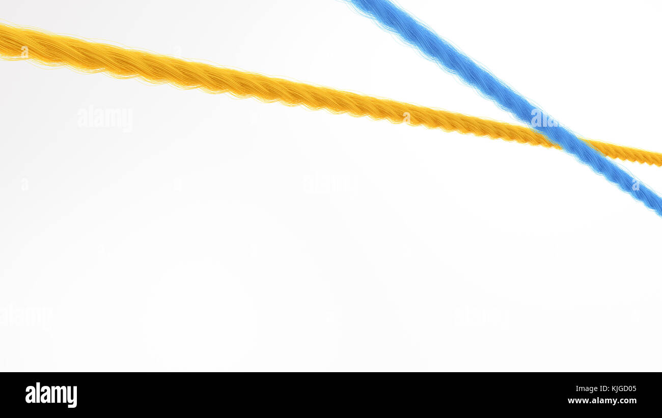 Yellow and blue overlapping string, 3d rendering - Stock Image