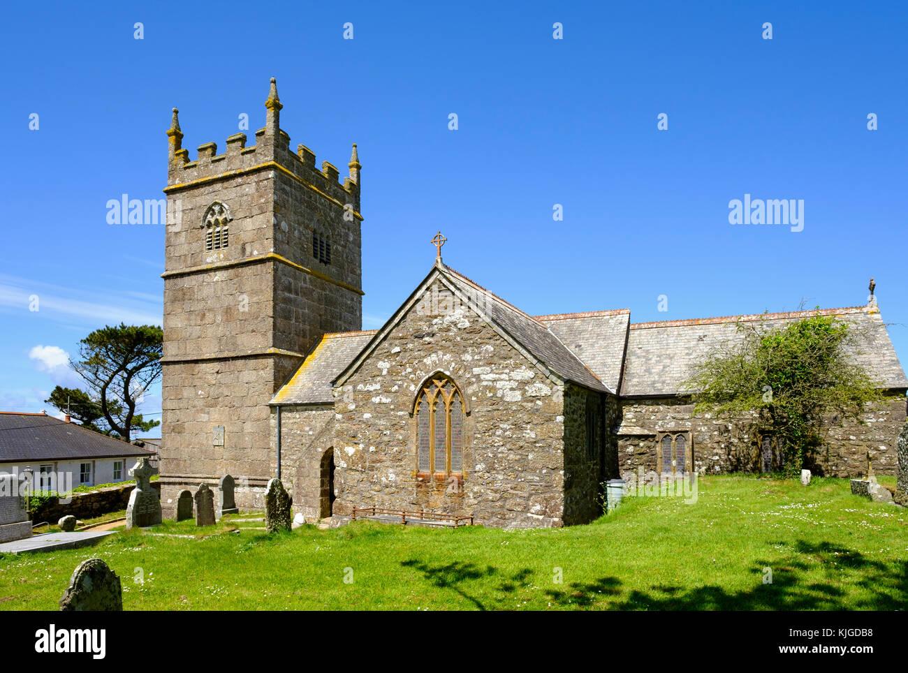 Kirche St Senara, Zennor, Cornwall, England, Großbritannien - Stock Image