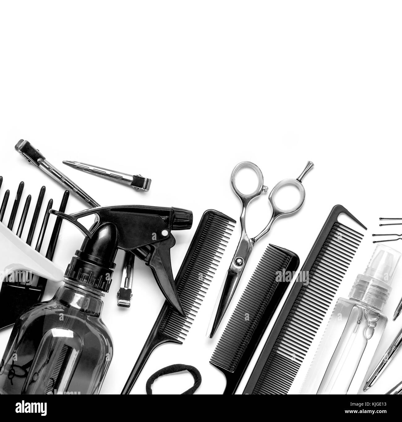 Professional hairdresser tools, isolated on white - Stock Image
