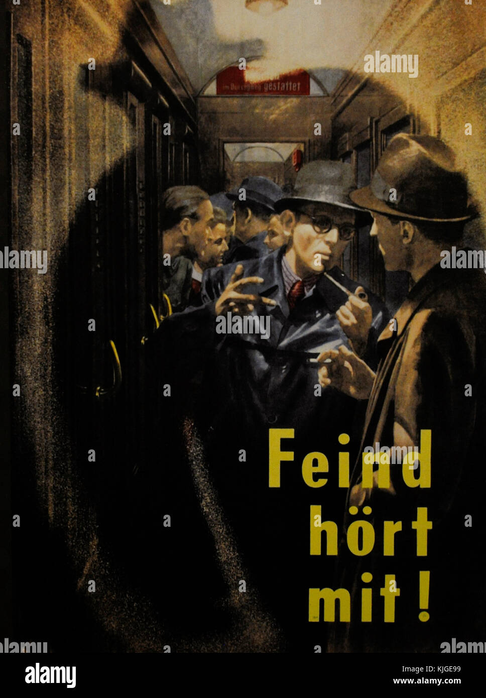 History of Germany. Poster with the phrase 'The enemy listens!'. Encouraging people to be vigilant because - Stock Image