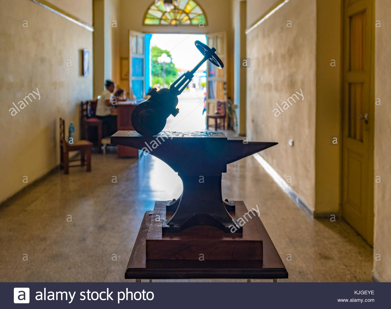 Provincial Museum entrance. There is a sculpture of at the entrance and receptionists seating as they wait for visitors - Stock Image