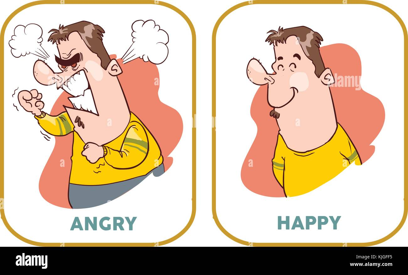 Happy and angry man. Flat style modern vector illustration. - Stock Image