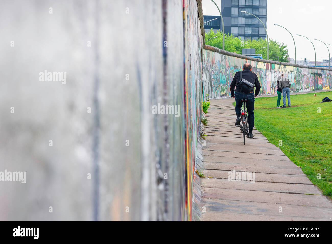 Berlin wall, section of the Berlin Wall in Friedrichshain that divided the city between east and west in the post - Stock Image