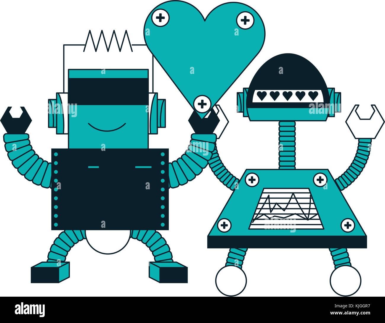robots couple icon Stock Vector