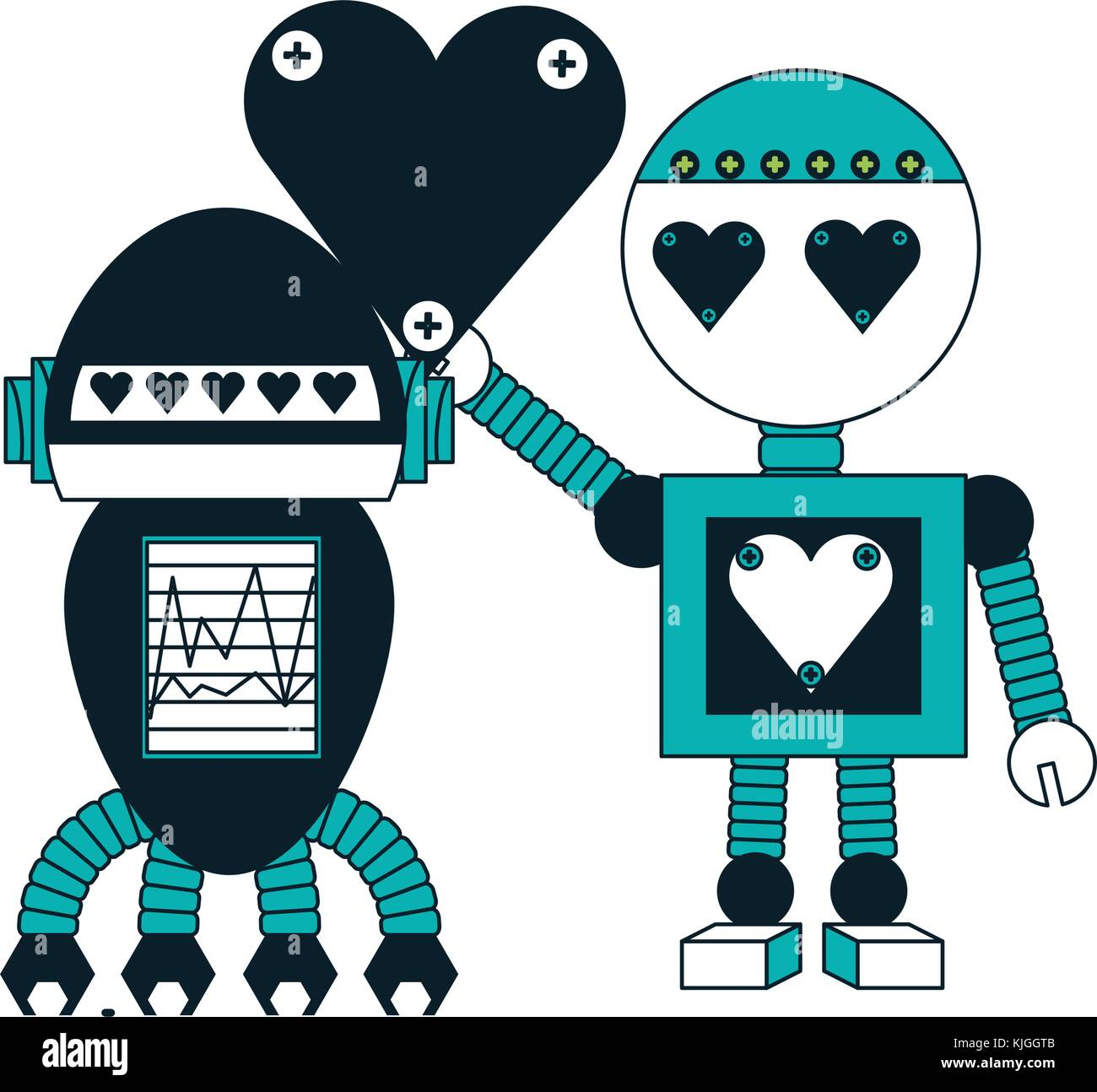robots couple icon Stock Vector