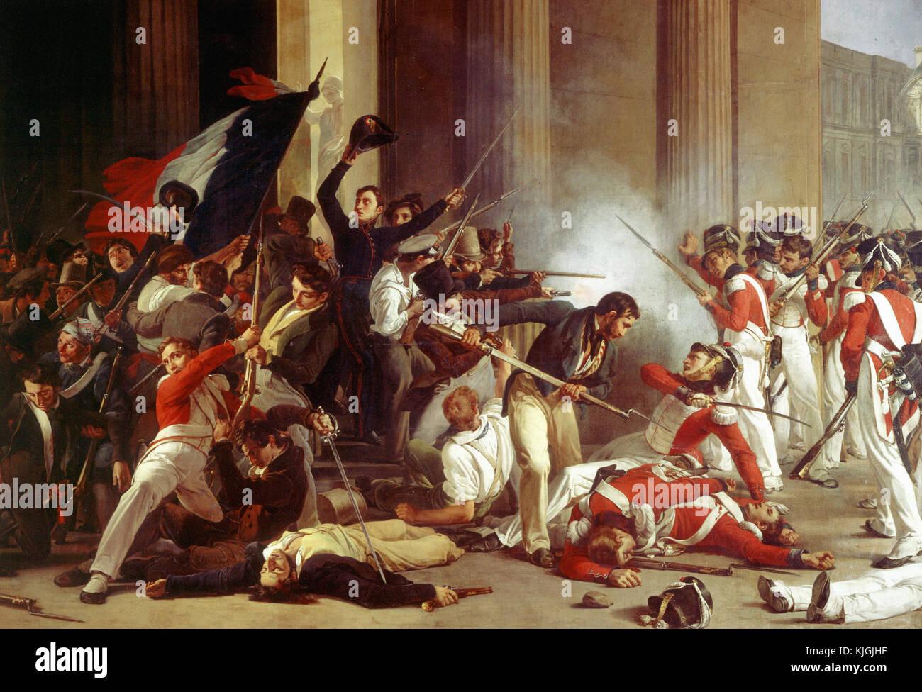 Jean-Louis Bezard   Storming the Louvre, July 29, 1830   1832 Paris, musée Carnavalet Stock Photo