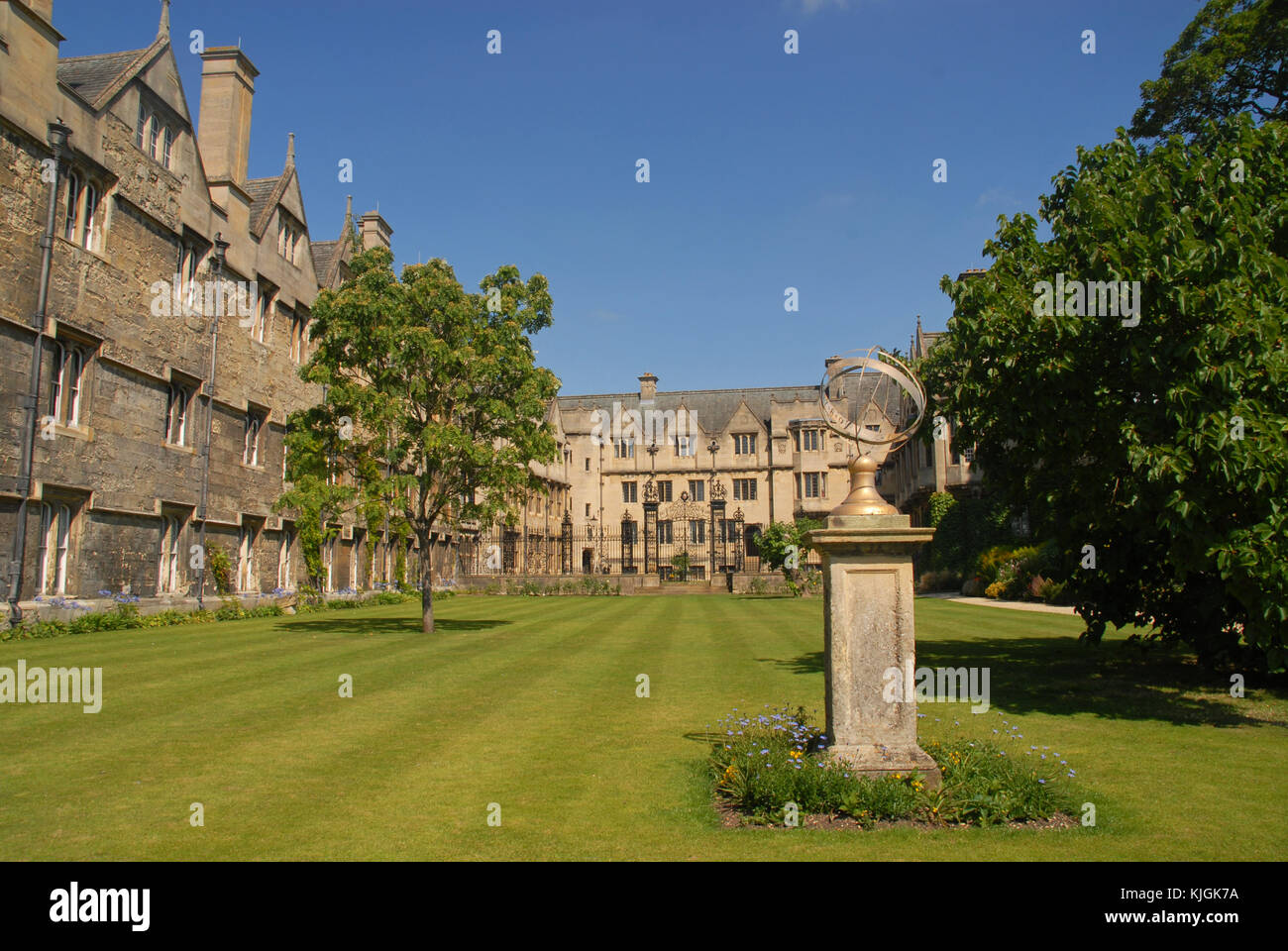 Oxford, United Kingdom - August 8, 2015: Armillary sundial in fellows garden at Merton College - Stock Image