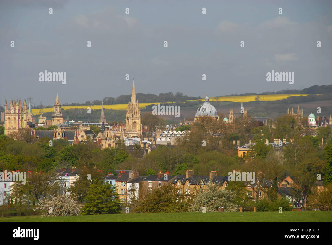 View of Oxford from South Park in spring Stock Photo