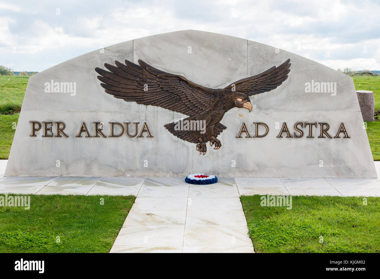 Memorial at St Omer airfield, Headquarters of the British Royal Flying Corps in World War I - Stock Image