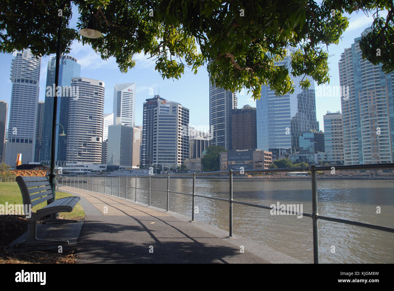 Brisbane, Australia - July 28, 2017: View of the city from Captain Burke Park - Stock Image