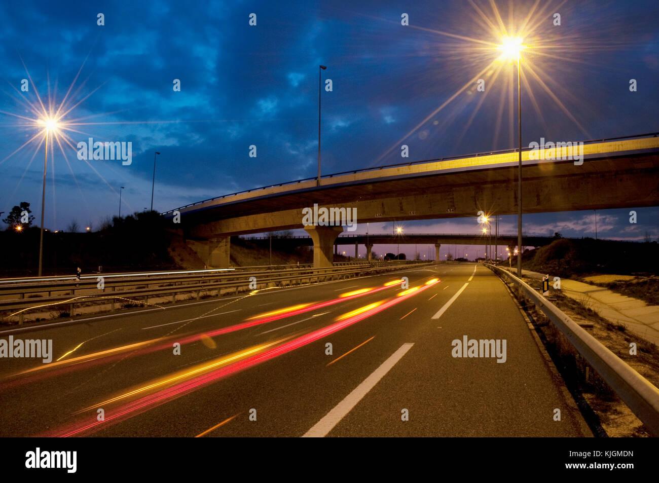 R-3 toll motorway at dusk. Madrid, Spain. Stock Photo