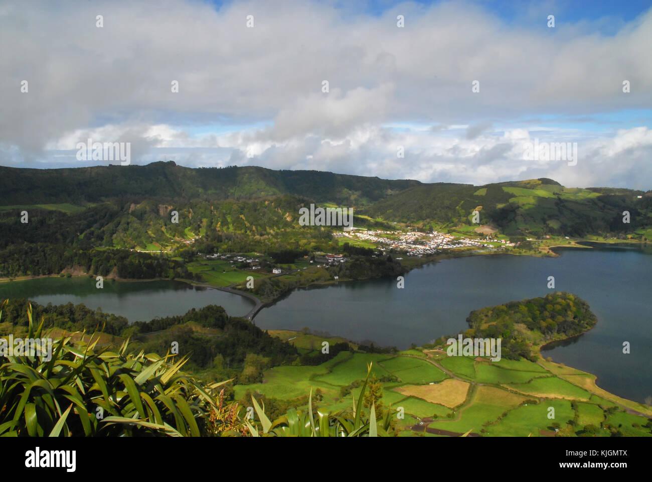 View of Sete Cidades, Lagoa Verde and Lagoa Azul in Sao Miguel, Azores, Portugal Stock Photo
