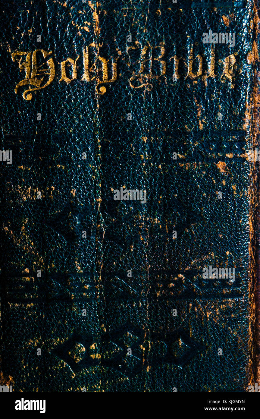 very old Holy Bible spine with gold letterings Stock Photo