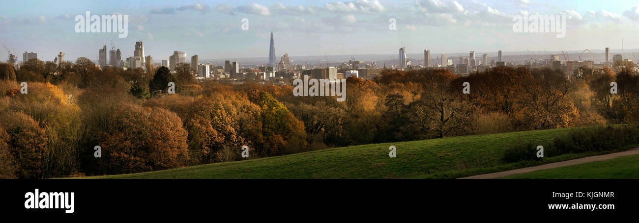 The City of London skyline viewed from Hampstead Lane gate vista point. - Stock Image