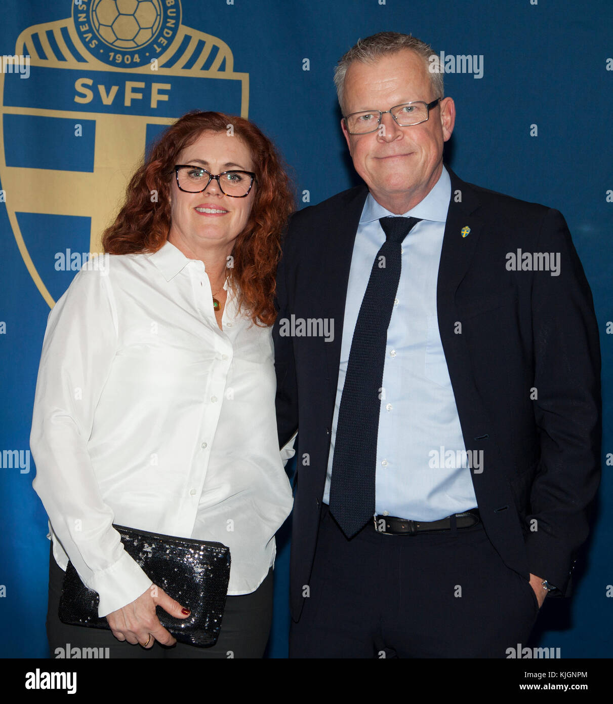 JANNE ANDERSSON Coach for the Swedish National team in football 2018 with wife  Ulrika at annual Football gala in - Stock Image